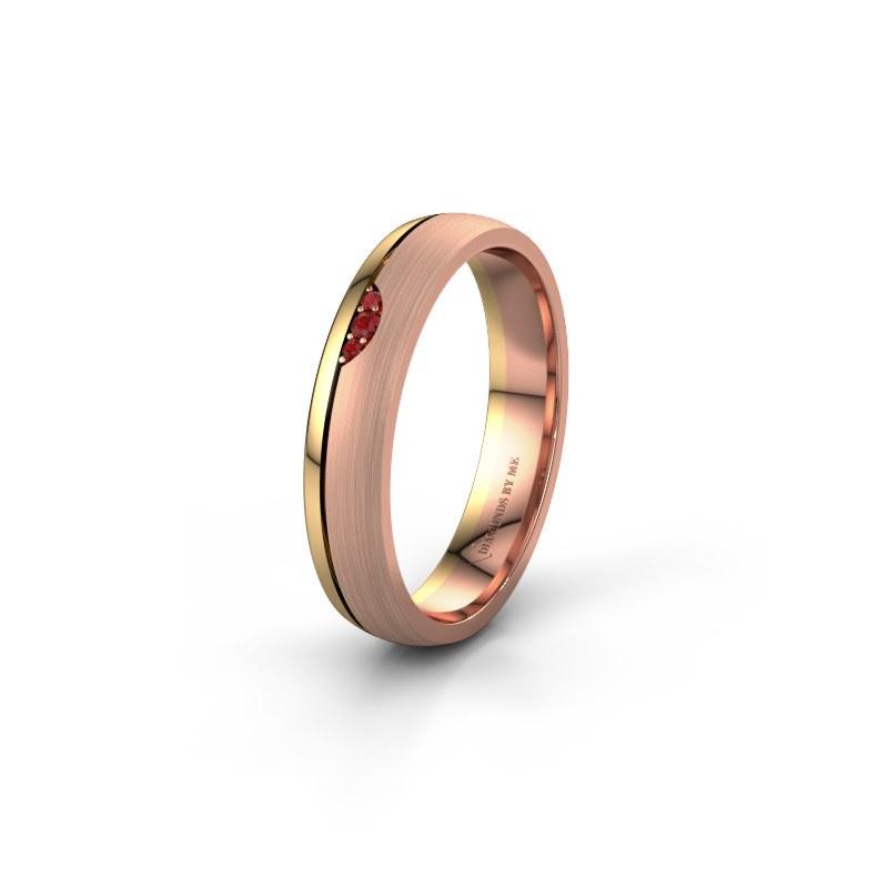 Trouwring WH0334L24X 585 rosé goud robijn ±4x1.5 mm