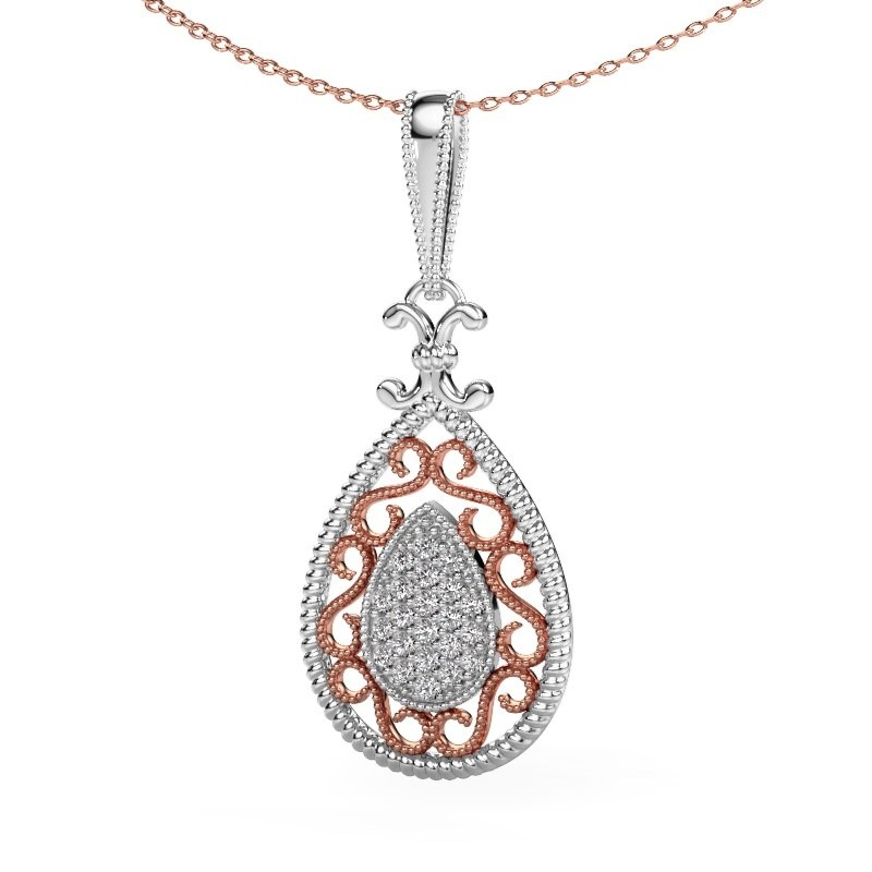 Pendentif Tammie 585 or blanc diamant synthétique 0.27 crt