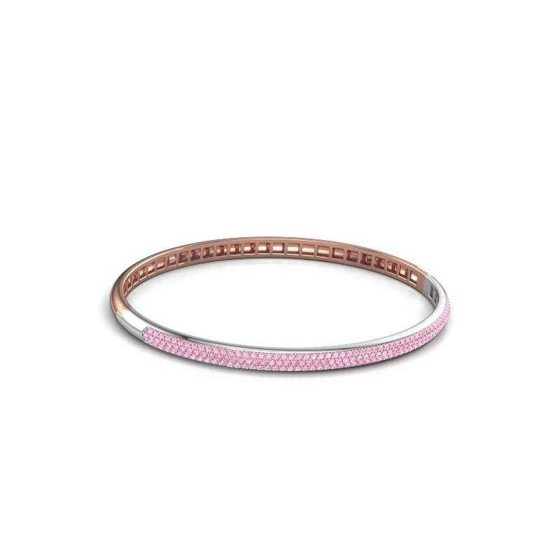 Slavenarmband Emely 4mm 585 rosé goud roze saffier 1.1 mm