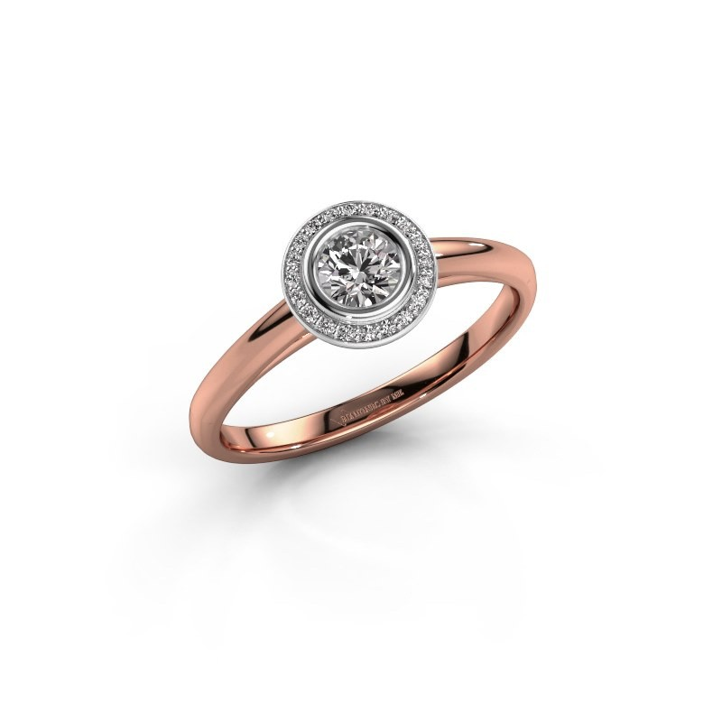Promise ring Noud 1 RND 585 rosé goud diamant 0.35 crt