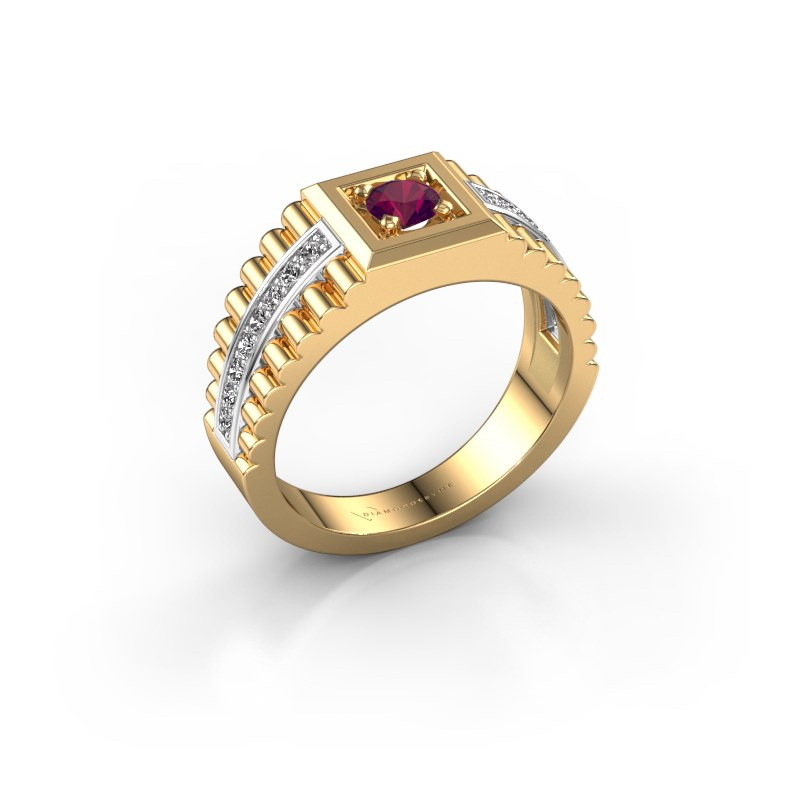 Men's ring Maikel 585 gold rhodolite 4.2 mm