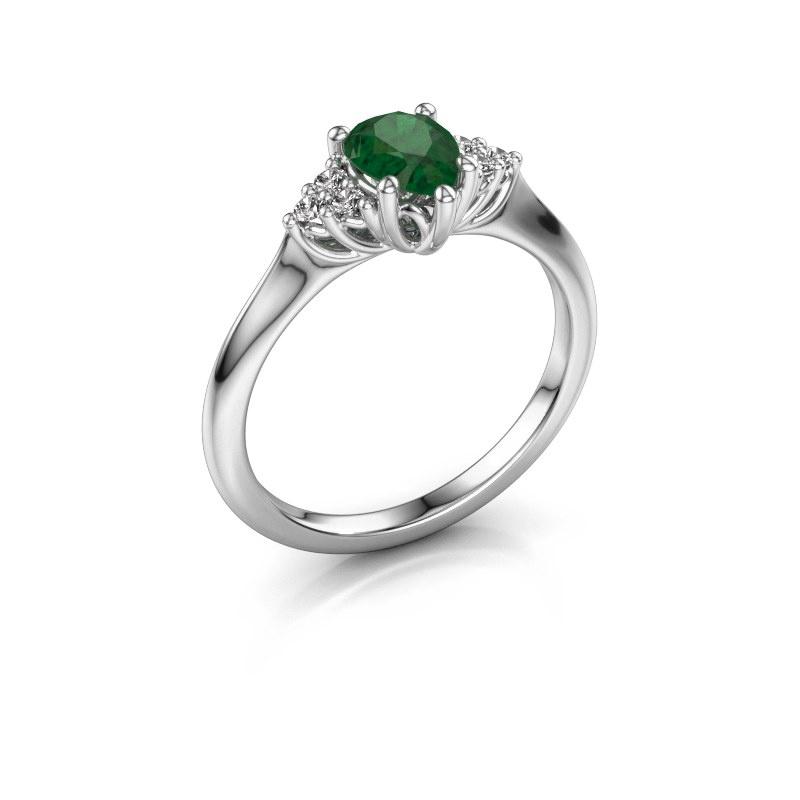 Verlovingsring Felipa per 925 zilver smaragd 7x5 mm