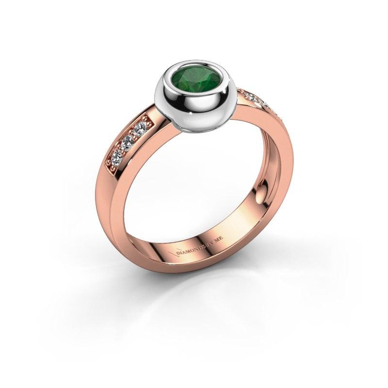 Ring Charlotte Round 585 rosé goud smaragd 4.7 mm