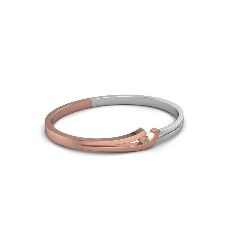 Slavenarmband Yentl 585 rosé goud bruine diamant 0.20 crt