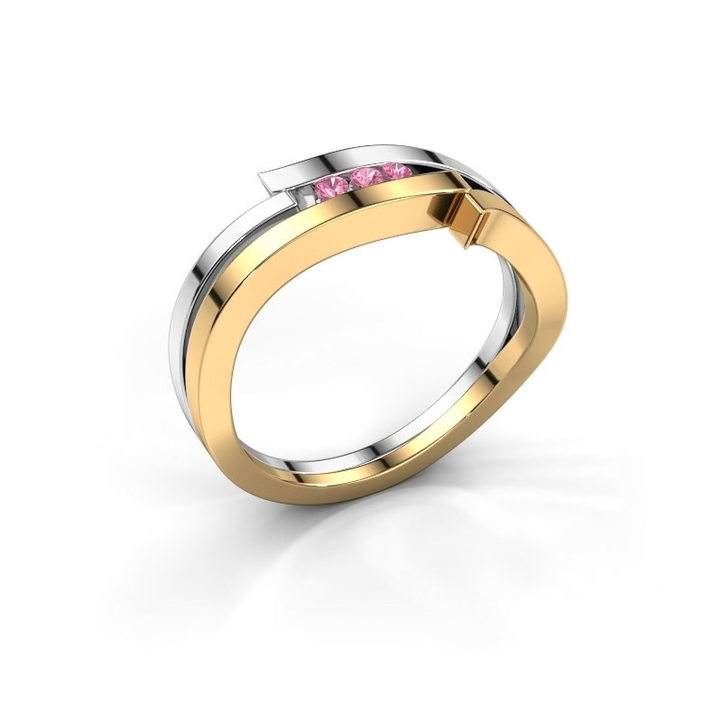 Ring Amelie 585 gold pink sapphire 1.7 mm