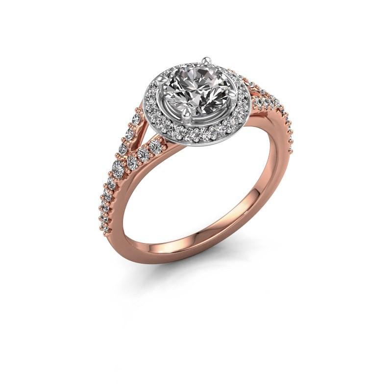 Verlovingsring Pamela RND 585 rosé goud diamant 1.44 crt