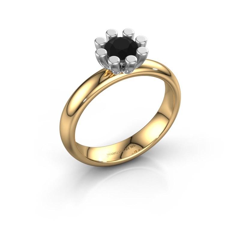 Steckring Carola 1 585 Gold Schwarz Diamant 0.60 crt