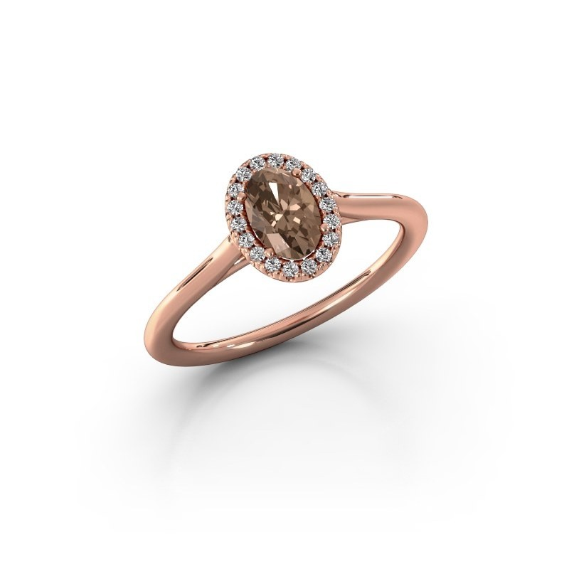 Engagement ring Seline 1 585 rose gold brown diamond 0.59 crt