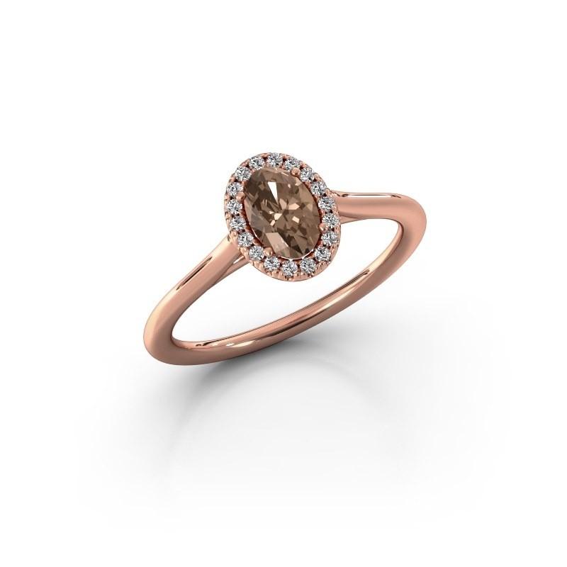 Engagement ring Seline 1 375 rose gold brown diamond 0.59 crt