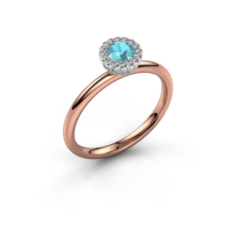 Engagement ring Queen 585 rose gold blue topaz 4.2 mm