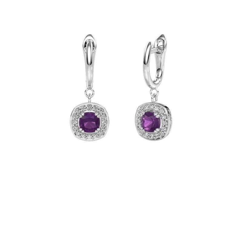Drop earrings Marlotte 1 950 platinum amethyst 5 mm