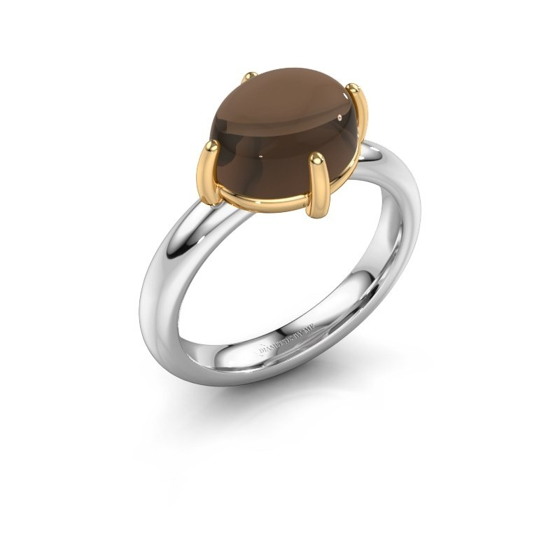 Ring Melodee 585 witgoud rookkwarts 10x8 mm