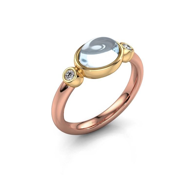 Ring Liane 585 rosé goud aquamarijn 8x6 mm