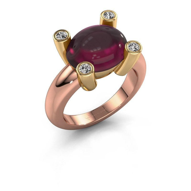 Ring Janice OVL 585 rose gold rhodolite 12x10 mm