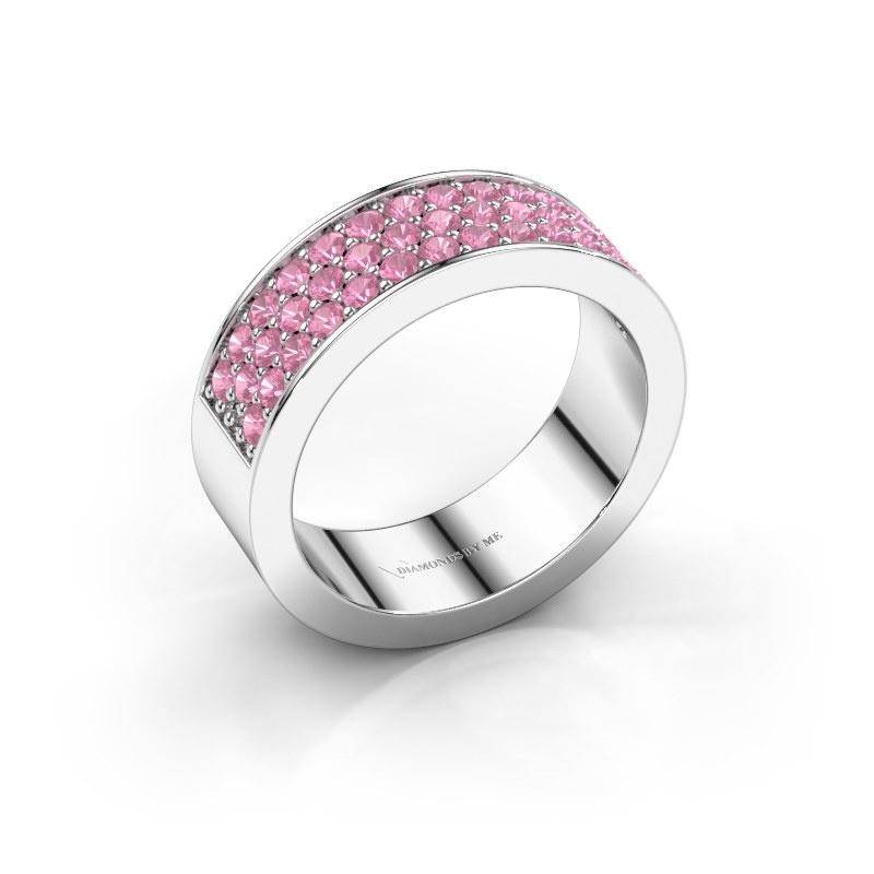 Ring Lindsey 6 925 zilver roze saffier 1.7 mm