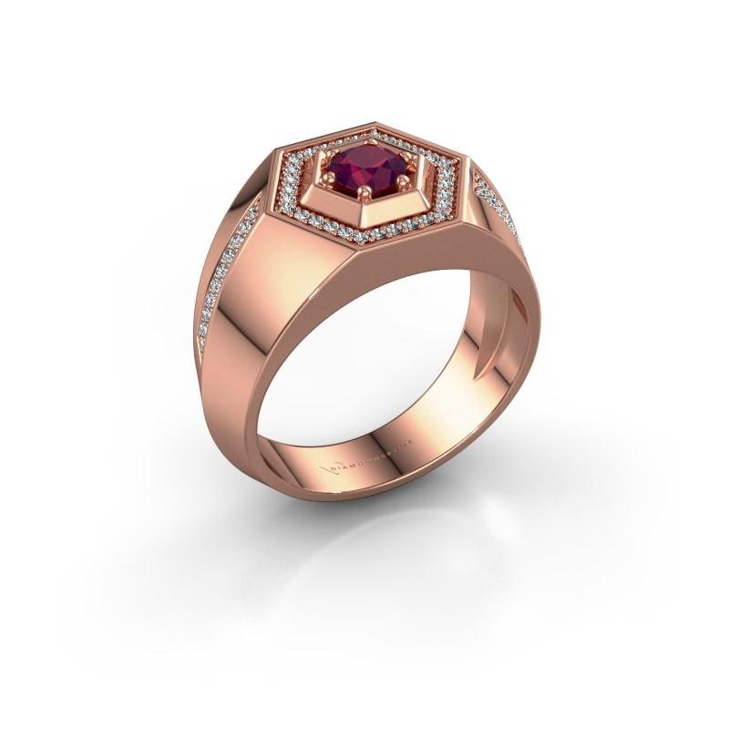 Men's ring Sjoerd 375 rose gold rhodolite 4.7 mm
