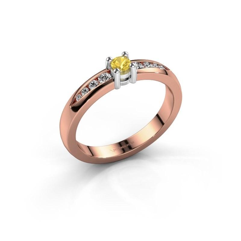 Verlovingsring Zohra 585 rosé goud gele saffier 3 mm