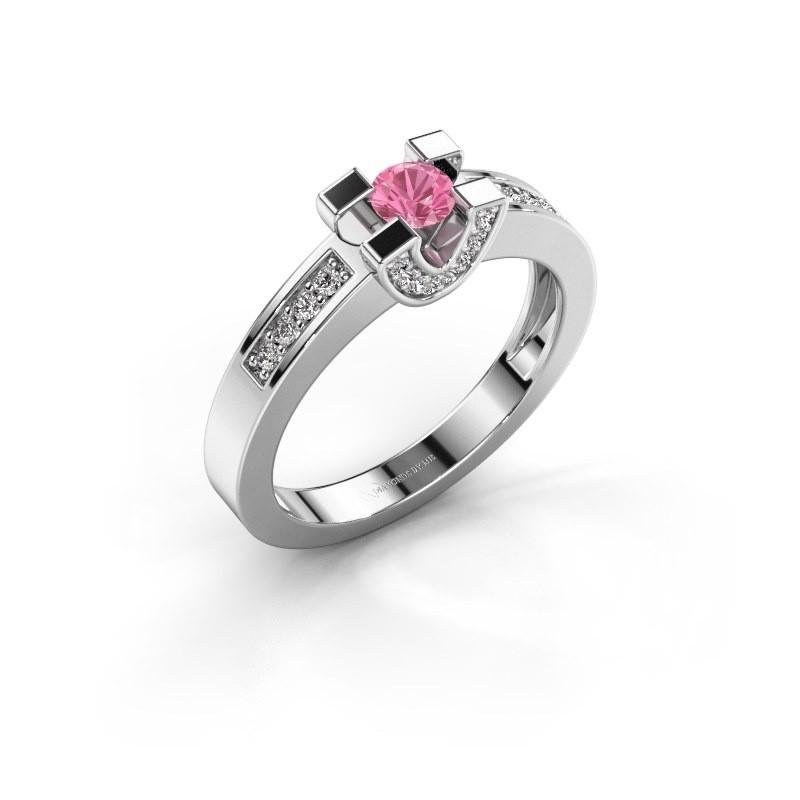 Verlovingsring Jasmijn 2 585 witgoud roze saffier 4 mm