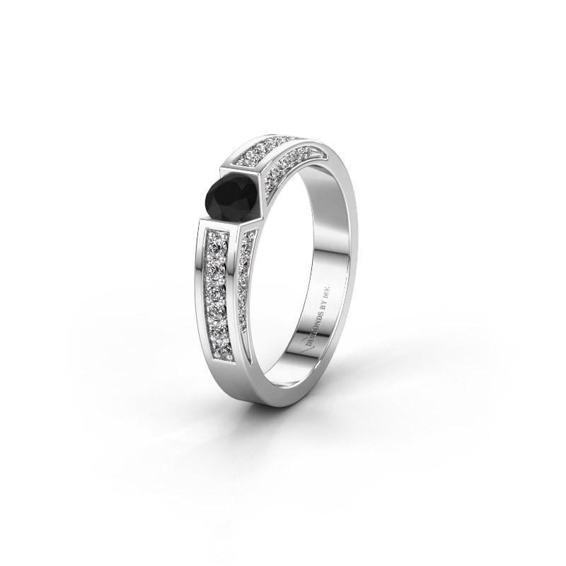 Trouwring WH2098L 585 witgoud zwarte diamant ±4x3 mm