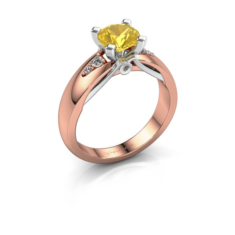 Engagement ring Ize 585 rose gold yellow sapphire 6.5 mm