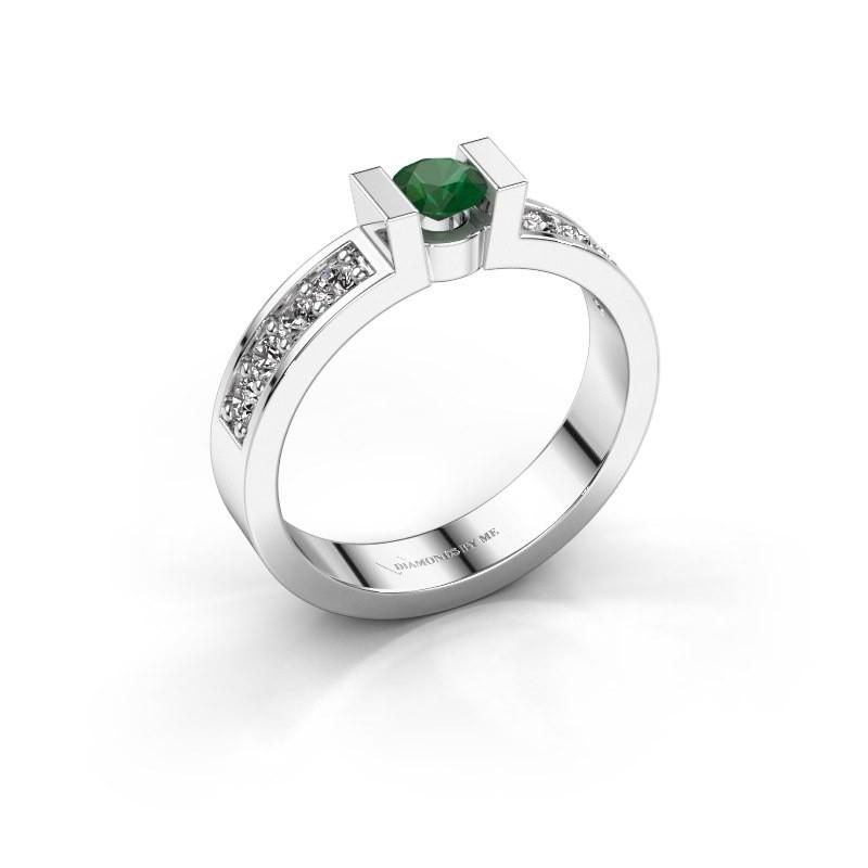 Verlovingsring Lieve 2 925 zilver smaragd 4 mm