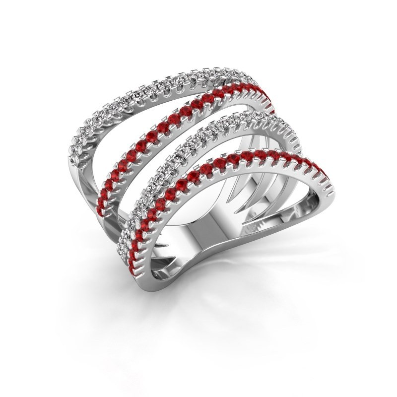 Ring Mitzi 585 witgoud robijn 1.2 mm