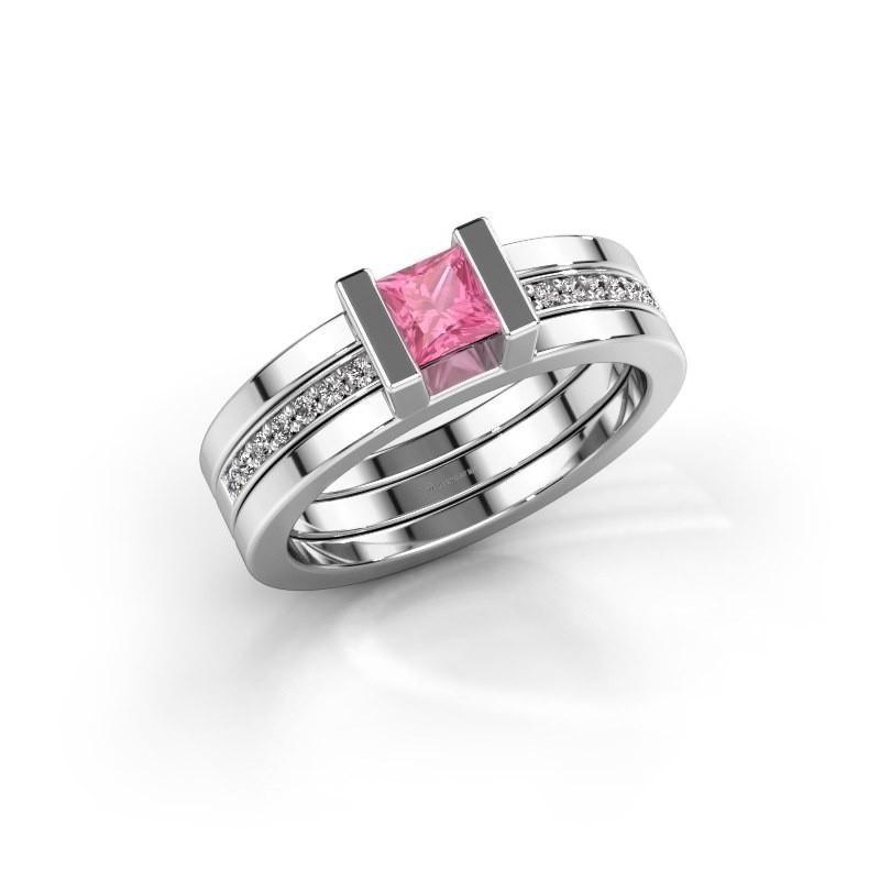 Ring Desire 925 zilver roze saffier 4 mm