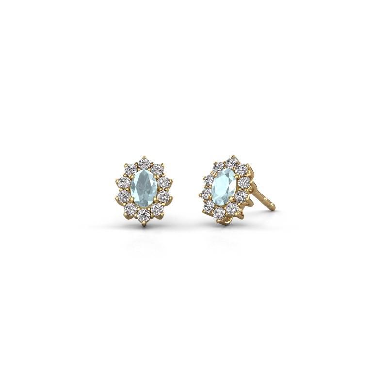 Earrings Leesa 375 gold aquamarine 6x4 mm