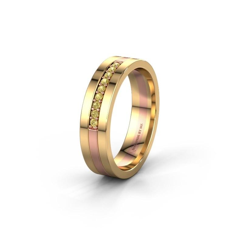Trouwring WH0413L15AP 585 rosé goud gele saffier ±5x1.7 mm