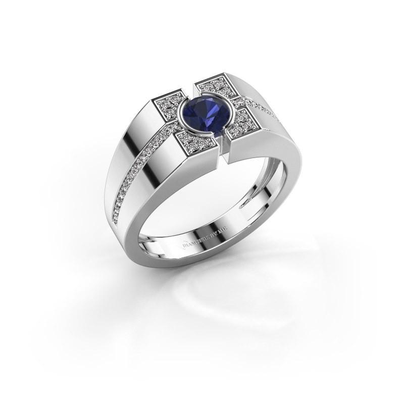Men's ring Thijmen 375 white gold sapphire 5 mm