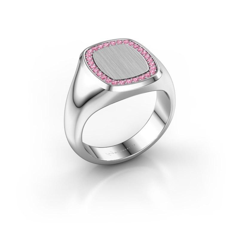 Heren ring Floris Cushion 3 585 witgoud roze saffier 1.2 mm