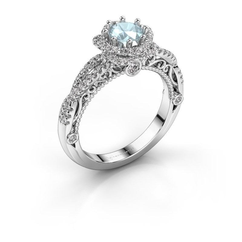 Engagement ring Lysanne 925 silver aquamarine 5 mm