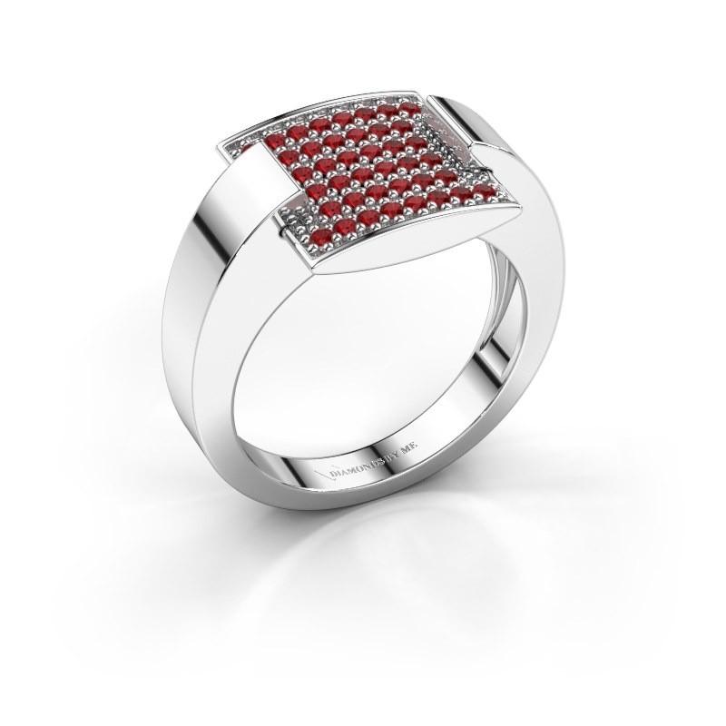 Ring Silke 585 witgoud robijn 1.2 mm