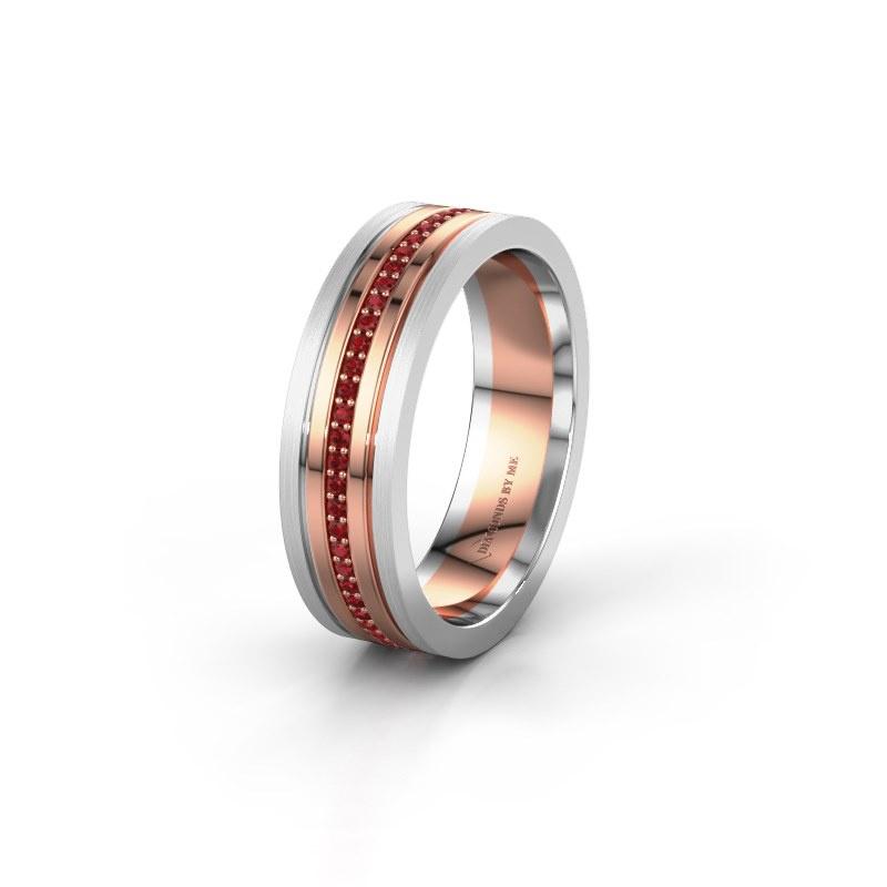 Trouwring WH0404L16A 585 rosé goud robijn ±6x1.7 mm