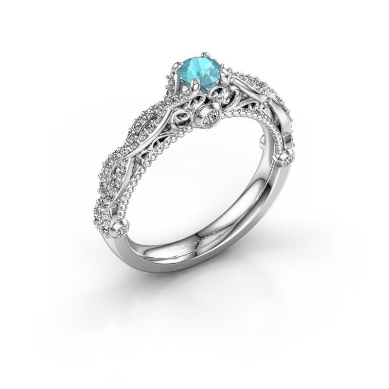 Verlovingsring Chantelle 585 witgoud blauw topaas 4 mm