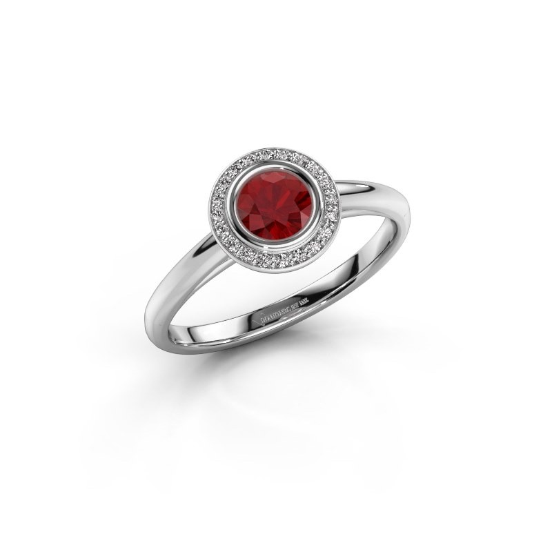 Promise ring Noud 1 RND 950 platinum ruby 4.7 mm