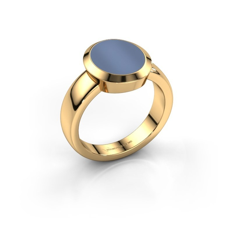 Zegelring Oscar 3 585 goud licht blauwe lagensteen 12x10 mm