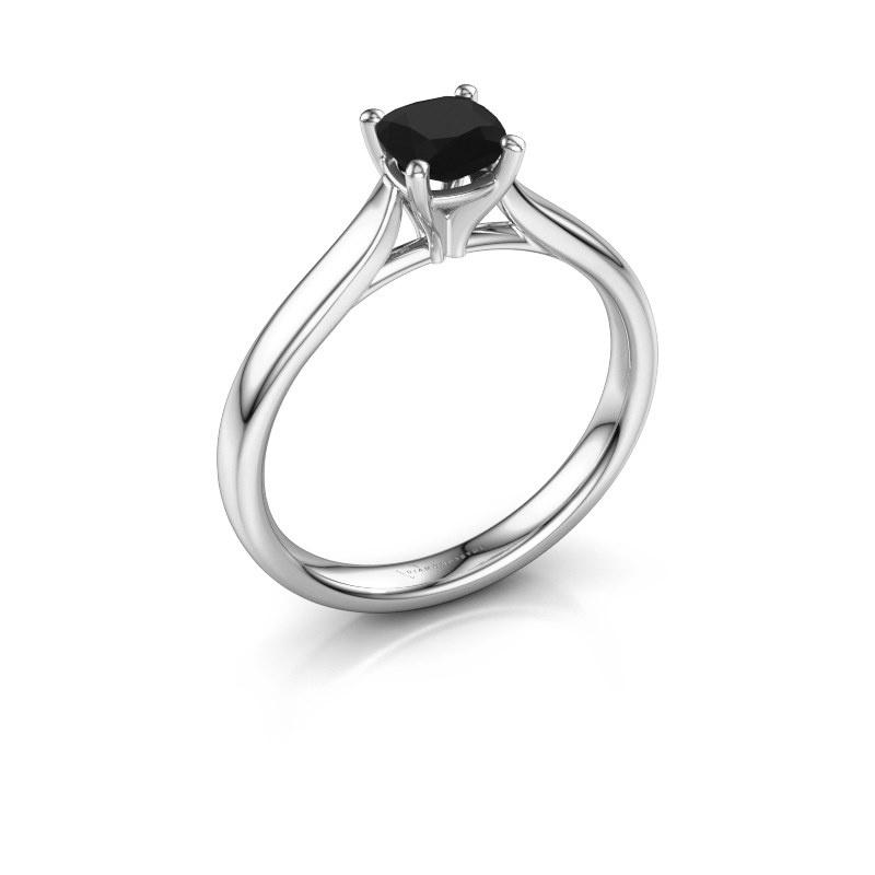 Verlovingsring Mignon cus 1 585 witgoud zwarte diamant 0.70 crt