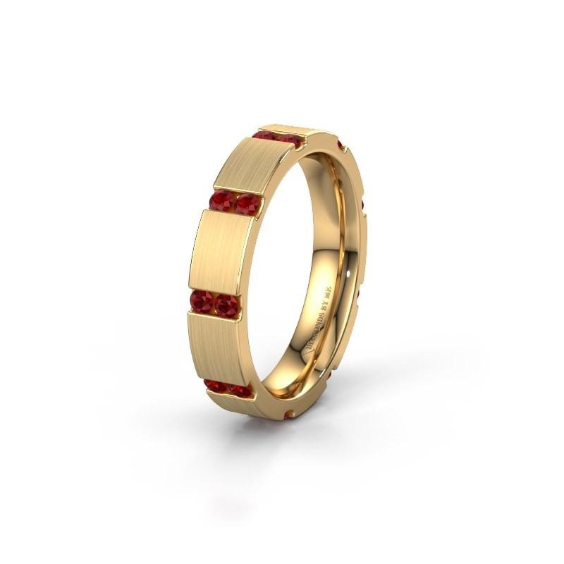 Weddings ring WH2132L14BM 375 gold ruby ±4x2.2 mm