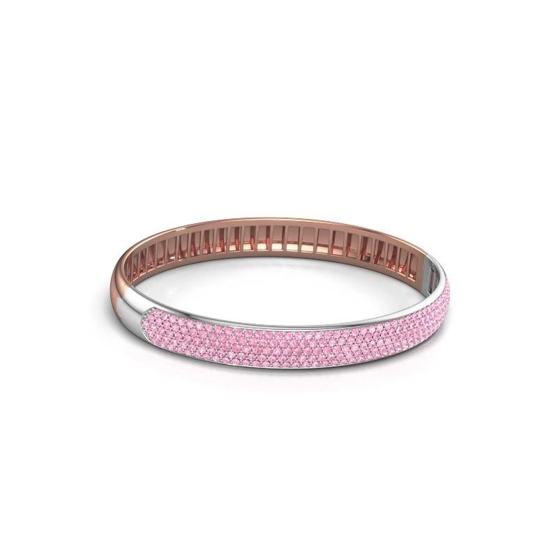 Slavenarmband Emely 8mm 585 rosé goud roze saffier 1.4 mm
