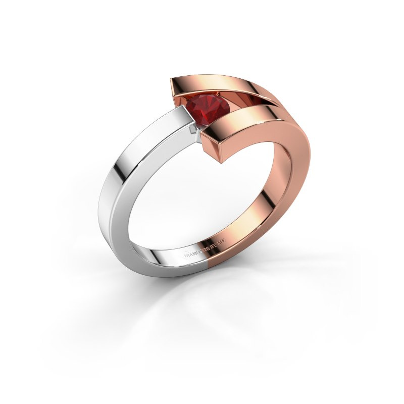 Ring Sofia 585 rose gold ruby 3.7 mm