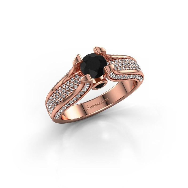 Verlovingsring Jeanne 2 375 rosé goud zwarte diamant 1.138 crt