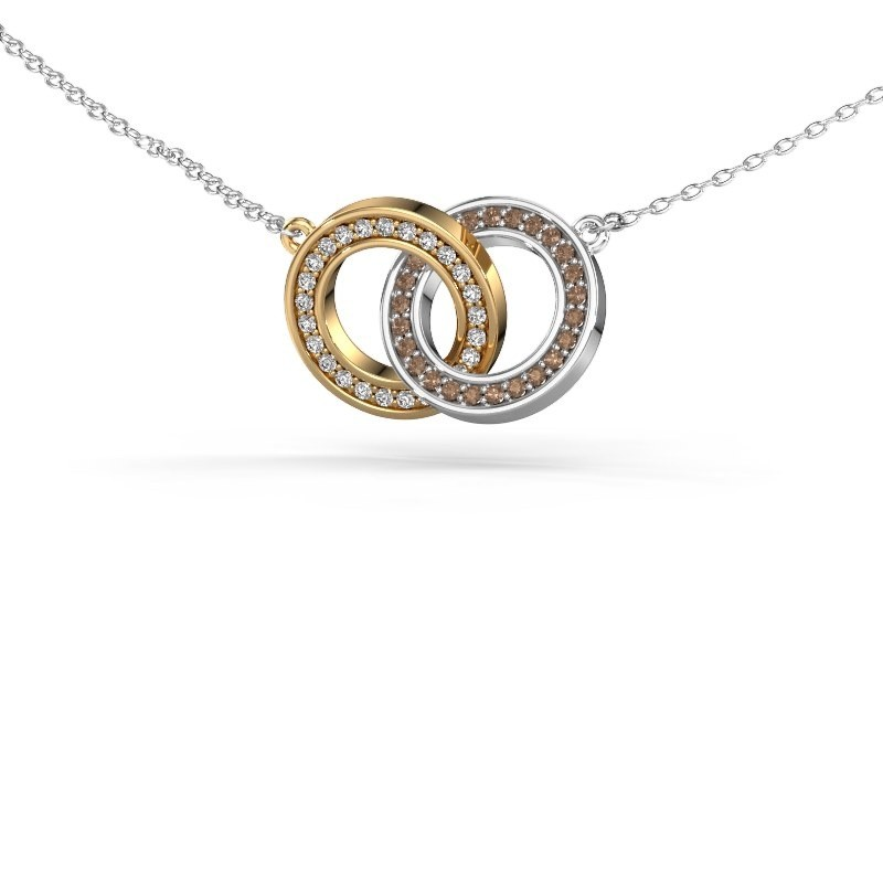 Collier Circles 2 585 or jaune diamant brun 0.25 crt