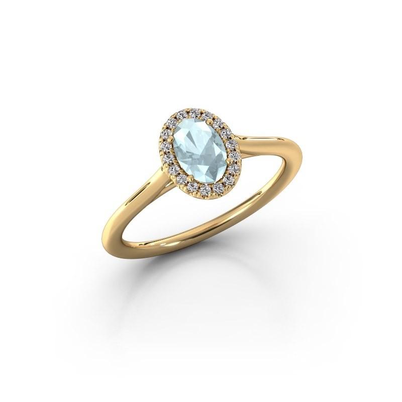Engagement ring Seline 1 375 gold aquamarine 6x4 mm