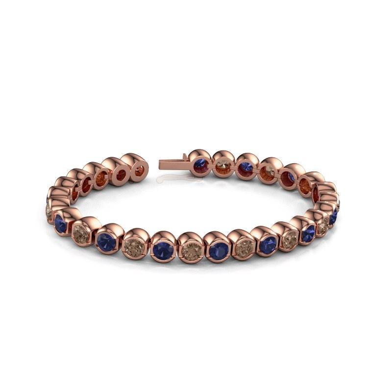Tennisarmband Bianca 5 mm 375 rosé goud bruine diamant 7.00 crt