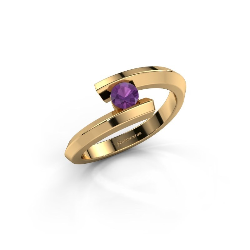 Ring Paulette 585 goud amethist 3.4 mm