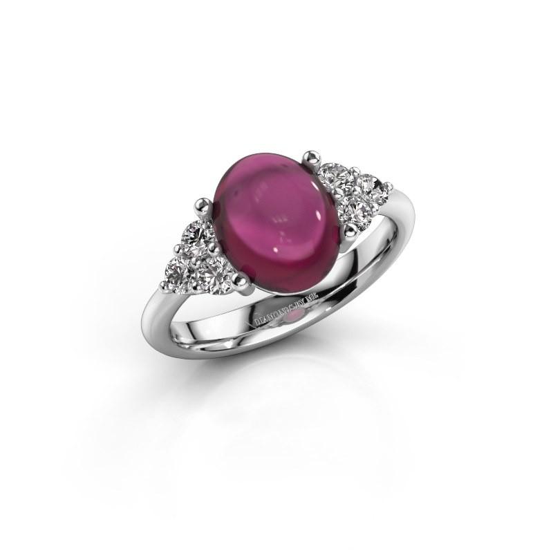 Ring Clarice 925 zilver rhodoliet 10x8 mm