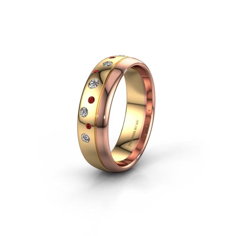 Trouwring WH0317L36AP 585 goud robijn ±6x1.7 mm