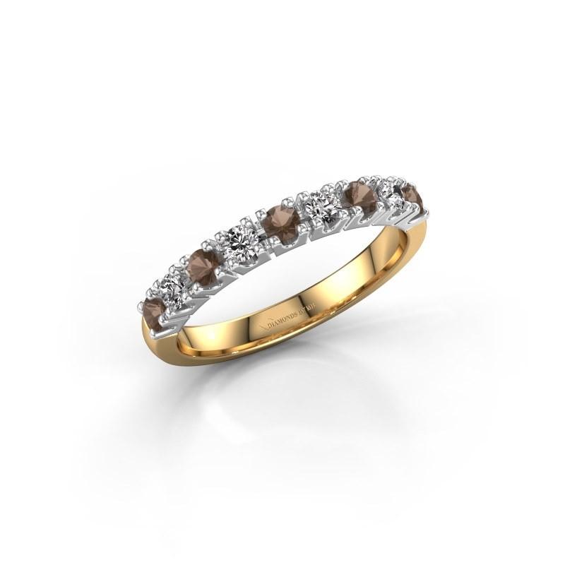 Engagement ring Rianne 9 585 gold smokey quartz 2.4 mm