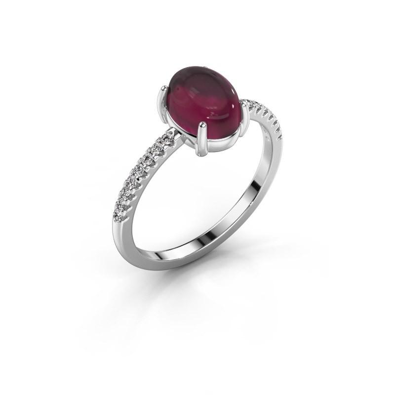 Ring Becky 925 zilver rhodoliet 8x6 mm